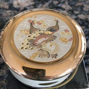 CHOKIN TRINKET BOX 24KT GOLD EDGE PEACOCKS NWT